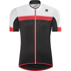 Sportful Pista Maillot manches courtes Homme, black/white/red-coral fluo